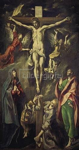 Greco El (Dom.Theotokopoulos): Christus am Kreuz mit Maria, Magdalena, Johannes und Engeln. Nach 1590