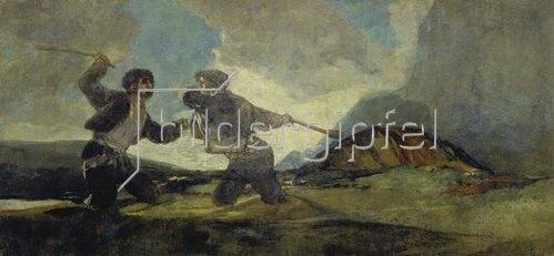Francisco José de Goya: Duell mit Knüppeln. (Aus den schwarzen Bildern der Quinta del Sordo). 1820-23.