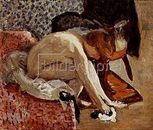 Pierre Bonnard: Junge Frau, Schuhe anziehend.