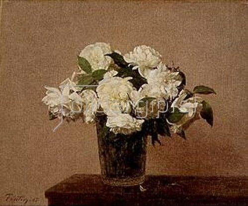 Henri de Fantin-Latour: Vase mit weissen Rosen. 1885.