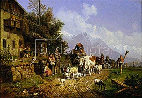 Heinrich Bürkel: Heimkehr von der Alm. Um 1860
