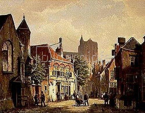 Willem Koekkoek: Strassen-Szene in Rotterdam mit der St.Laurens-Kirche.