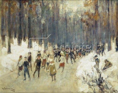 Max Liebermann: Schlittschuhläufer auf dem zugefrorenen See im Berliner Tiergarten. 1919.