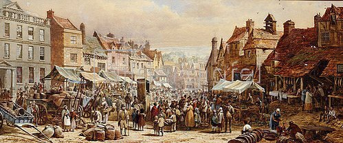 Louise Rayner: Markttag in Chippenham.