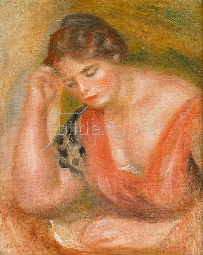 Auguste Renoir: Lesende junge Frau in rotem Kleid.