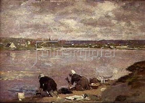 Eugène Boudin: Wäscherinnen am Ufer des Flusses Touques