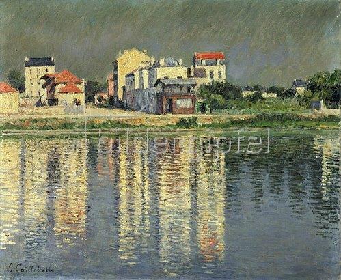 Gustave Caillebotte: Häuser spiegeln sich im Wasser der Seine bei Argenteuil. 1889