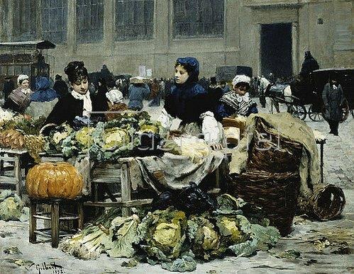 Victor Gabriel Gilbert: Ein Gemüsestand in Les Halles Paris. 1878.