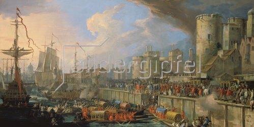 Luca Carlevarijs: Ankunft zweier venezianischer Botschafter vor der Treppe des Londoner Towers 1707.