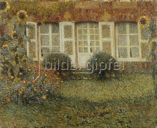 Henri Le Sidaner: Gartenhaus und Sonnenblumen.