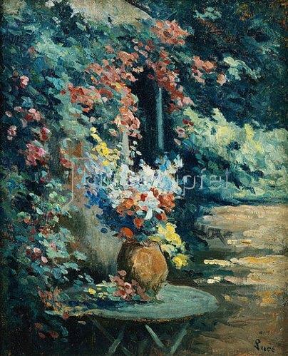 Maximilien Luce: Blumenstilleben auf einem Gartentisch.