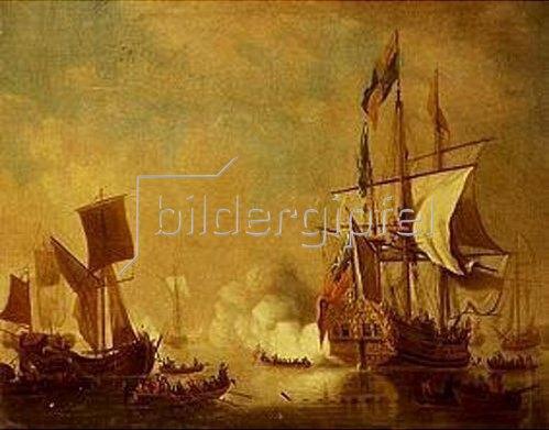 Peter Monamy: Die königl.Yacht The Peregrine, eine holländische Galeone und andere Schif