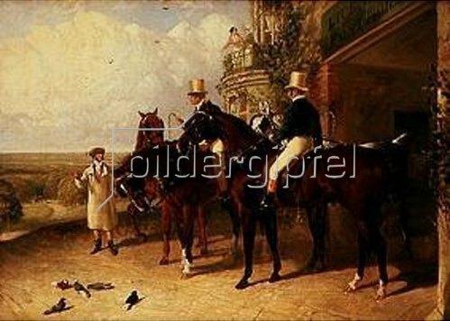 John Frederick Herring d.Ä.: Postillons auf ihren Pferden in Erwartung einer Postkutsche. 1846.