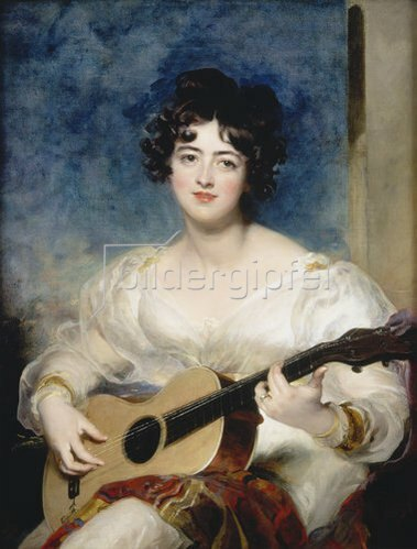 Sir Thomas Lawrence: Lady Wallscourt beim Musizieren, Bildnis, 1825