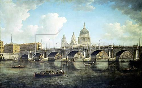 William Marlow: London, Blick auf Blackfriars Bridge und St.Paul Cathedral.