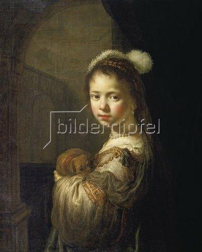 Govaert Flinck: Mädchen mit kleinem Hund im Arm.