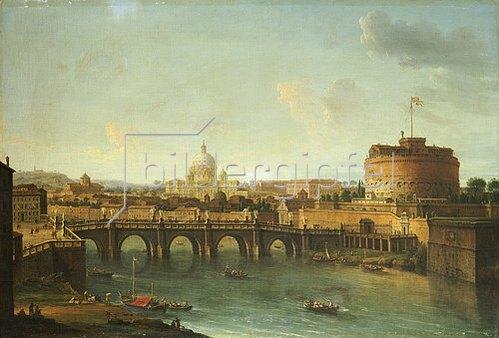 Antonio Joli: Ansicht von Rom mit dem Tiber, der Engelsburg und St.Peter.