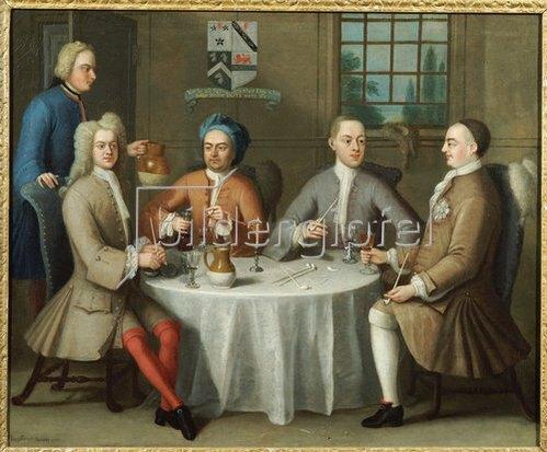 Benjamin Ferrers: Gruppenbild mit Sir Thomas Sebright, Sir John Bland und zwei Freunden. 1723.