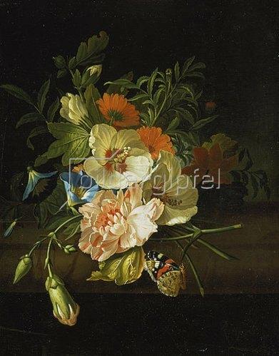 Rachel Ruysch: Blumenstilleben mit Schmetterlingen auf einer Steinbank.