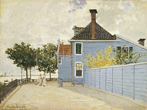 Claude Monet: The Blue House, Zaandam. La Maison Bleue, Zaandam.  Claude Monet (1840-1926).  Oil On Canvas.