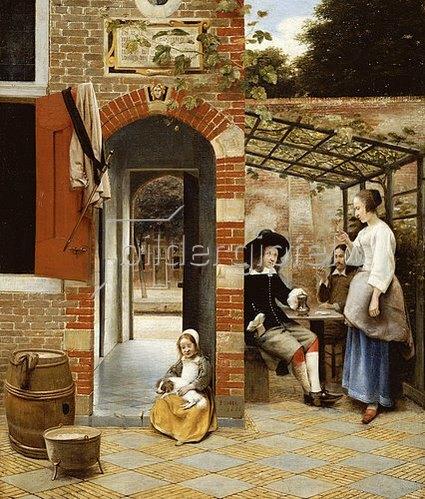 Pieter de Hooch: Im Hof eines Hauses in Delft.