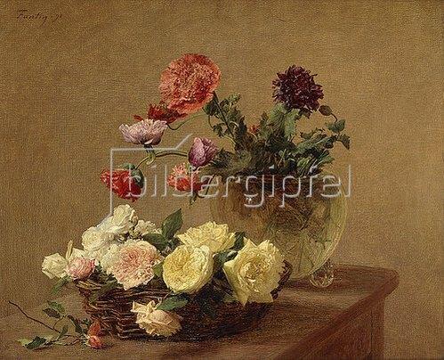 Henri de Fantin-Latour: Blumen in Glasvase und Korb mit Rosen. 1890