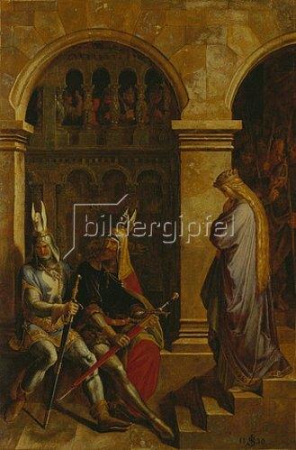 Julius Schnorr von Carolsfeld: Hagen und Volker verweigern Kriemhild den Gruß. 1830