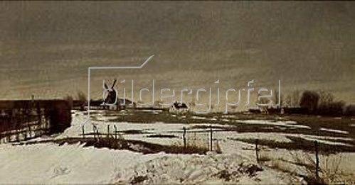 Lauritz Andersen Ring: Spätwinterlandschaft mit Windmühle. 1912