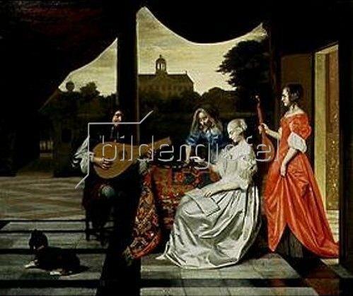 Pieter de Hooch: Musikalische Gesellschaft auf einer Terrasse in Amsterdam.