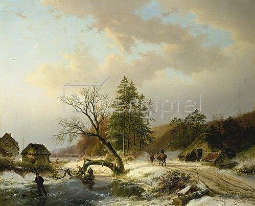 Barend Cornelisz Koekkoek: Winterlandschaft mit Reisigsammlern.