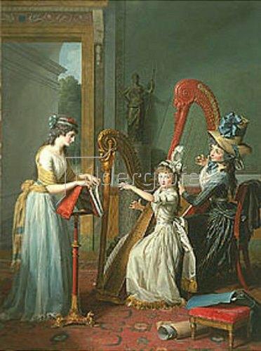 Jean-Antoine-Theodore Giroust: Die Harfenspielerinnen (Mademoiselles d'Orléans).