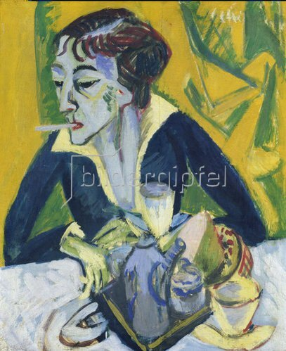 Ernst Ludwig Kirchner: Erna mit Zigarette. 1913