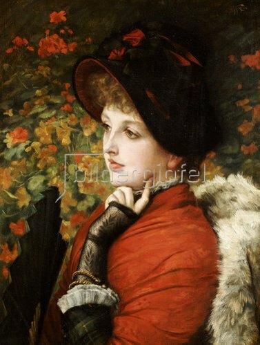 James Jacques Tissot: Bildnis der Kathleen Newton in rotem Kleid und schwarzer Kappe. 1880
