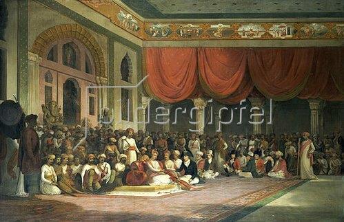 Thomas Daniell: Vertragsschluss zwischen Charles Warre Malet und dem Prinzen von Maratha 1790 in Durbar.
