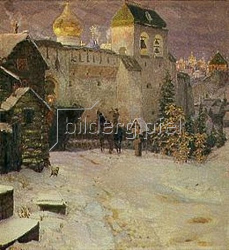 Apolinarij Wasnezow: Reiter am Stadttor einer alten russischen Stadt.