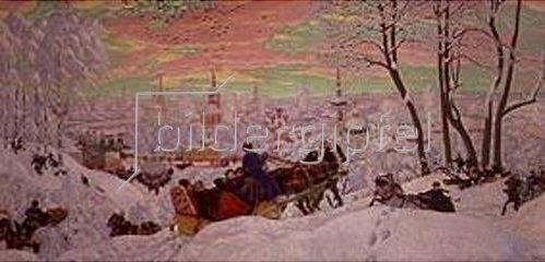 Boris Michailowitsch Kustodiev: Fastnachtstreiben in Russland. 1918.