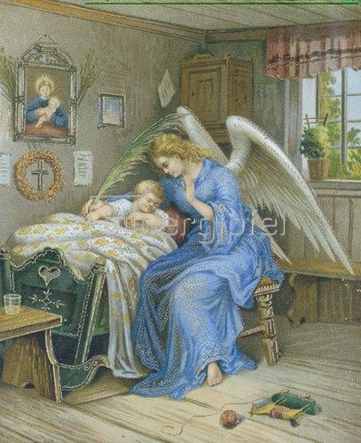Anonym: Schutzengel mit schlafendem Kind. Um 1900