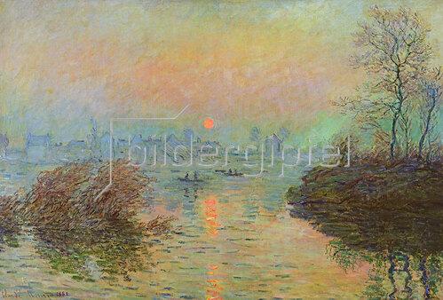 Claude Monet: Sonnenuntergang über der Seine bei Lavacourt im Winter, 1880