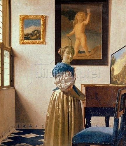 Jan Vermeer van Delft: Eine junge Frau an einem Virginal stehend, um 1671