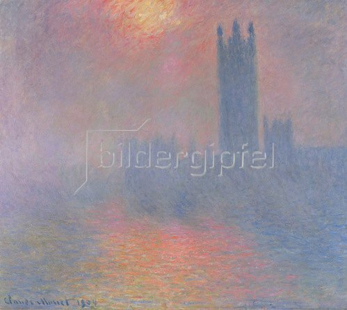Claude Monet: The Houses of Parliament, London, Sonne bricht durch den Nebel, 1904