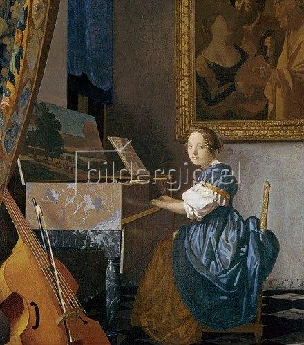 Jan Vermeer van Delft: Eine junge Dame an einem Virginal sitzend, 1670