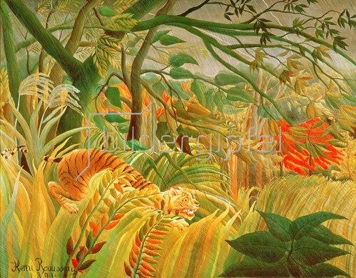 François-Eugène Rousseau: Tiger in einem tropischen Sturm