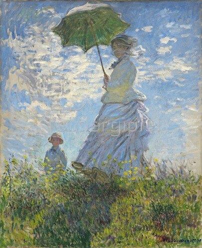 Claude Monet: Die Dame mit dem Sonnenschirm - Madame Monet and ihr Sohn, 1875