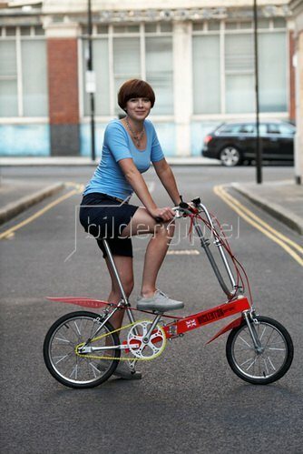 Horst A. Friedrichs: Cycle Style.<p>Abby rides a 1970s Bickerton Portable Bicycle