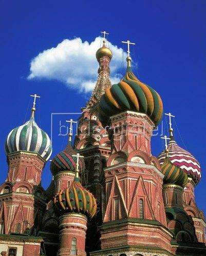 Zwiebeltürme der Basilius Kathedrale am Roten Platz, Moskau, Russland