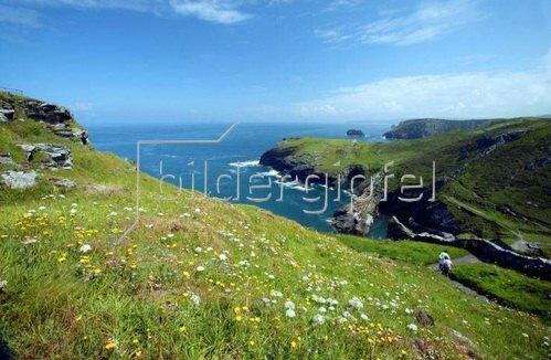 Ruinen der Festung Tintagel von König Artus, Cornwall, Südengland, Grossbritannien