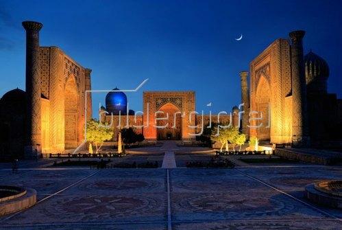 Registanplatz mit den Medressen Ulug'Bek, Tillakon und Sherdor in Samarkand, Provinz Samarkand, Usbekistan