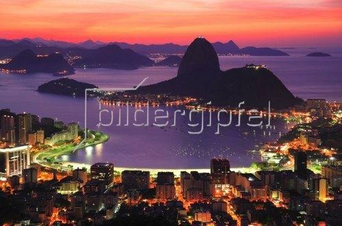 Blick auf die Botafogo-Bucht und Zuckerhut, Rio de Janeiro, Brasilien