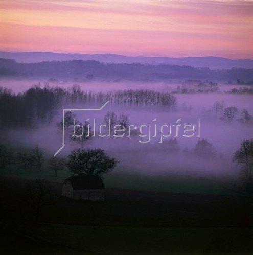 winter sunset, Limousin, Frankreich