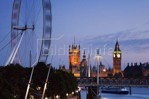 The Millennium Wheel London Eye and Hungerford Bridge,